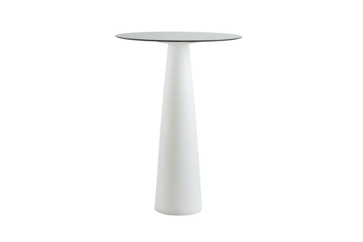 HOPLÀ Stehtisch mit weißer Tischsäule, Platte rund