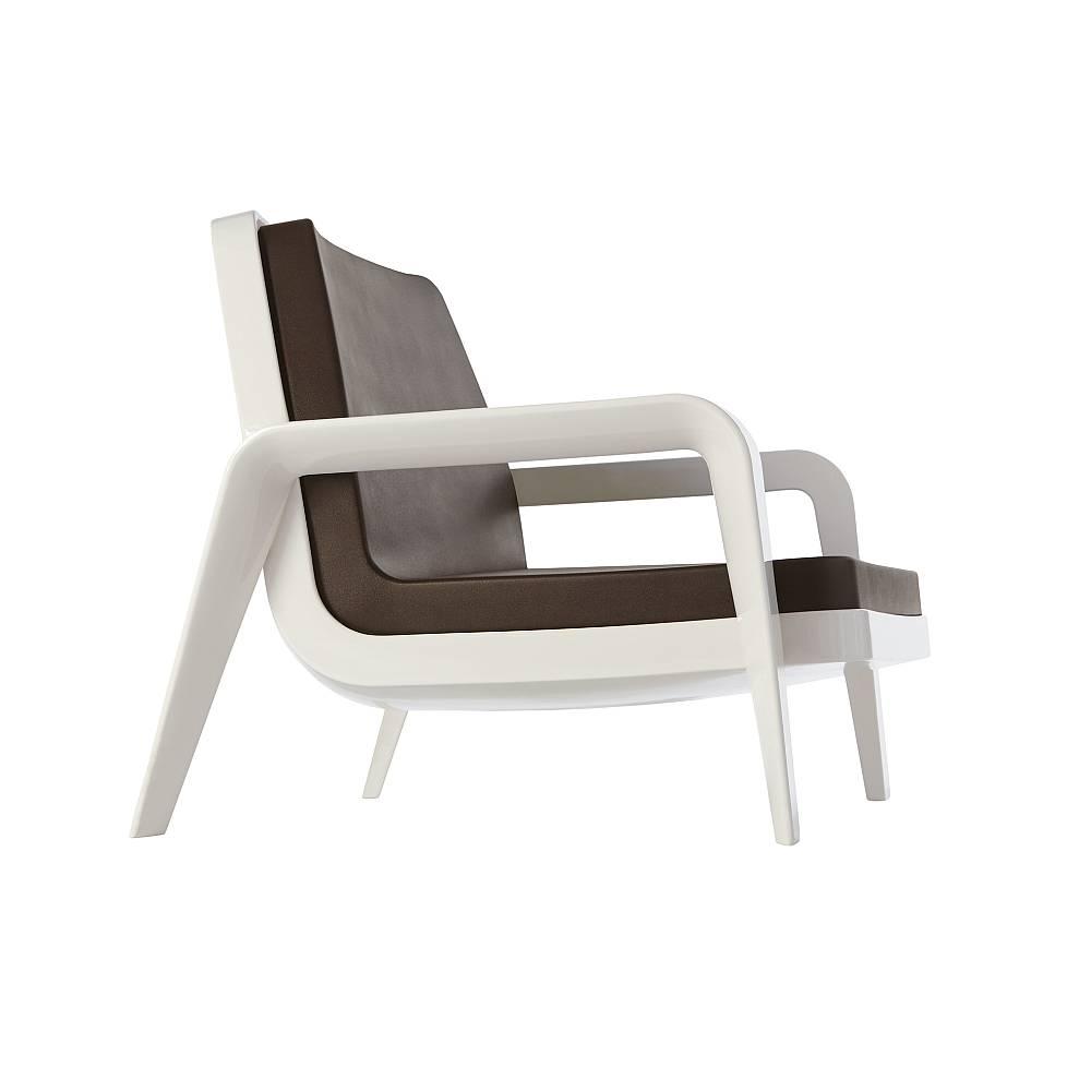 AMERICA Lounge-Armlehnstuhl Gestell milchweiß inklusive Kissen
