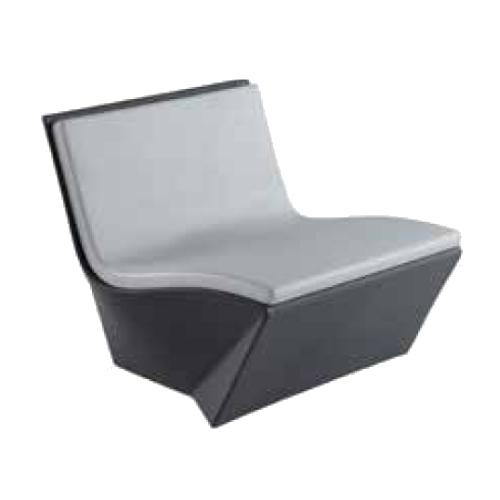 KAMI ICHI Gartensessel grau mit hellgrauem Sitzkissen