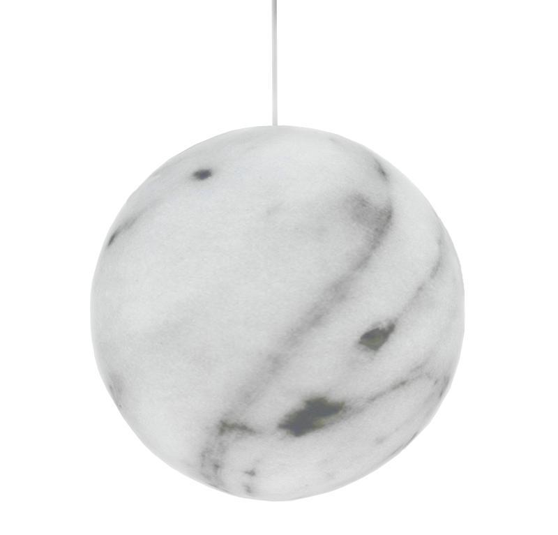 MINERAL Pendelleuchte 30 cm, weiß mit grauer Marmorierung