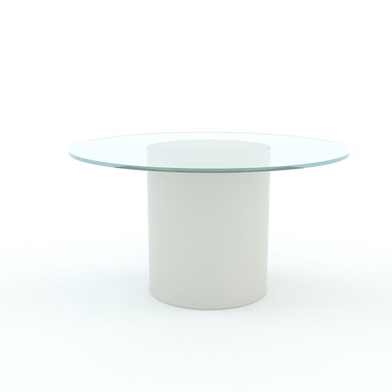 ARTHUR beleuchteter Esstisch Ø 120 cm, Glasplatte klar