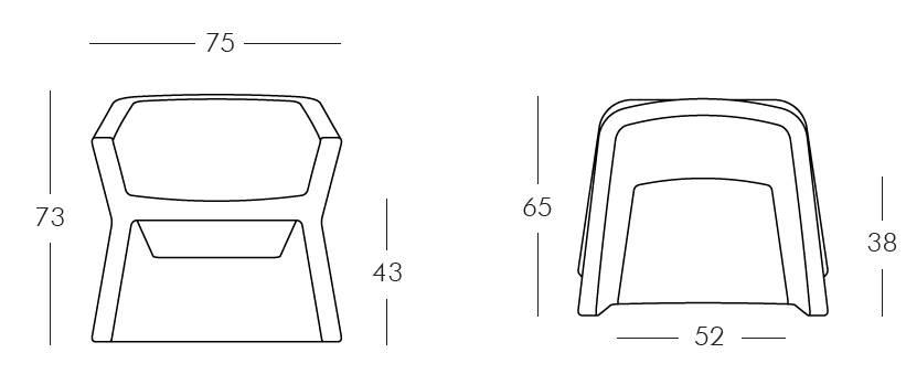 EXOFA Sessel / Stuhl Vermaßung