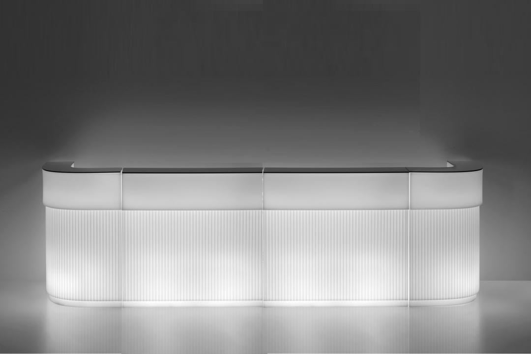 CORDIALE Bar 380 cm weiß, mit Beleuchtung und HPL Abdeckplatten