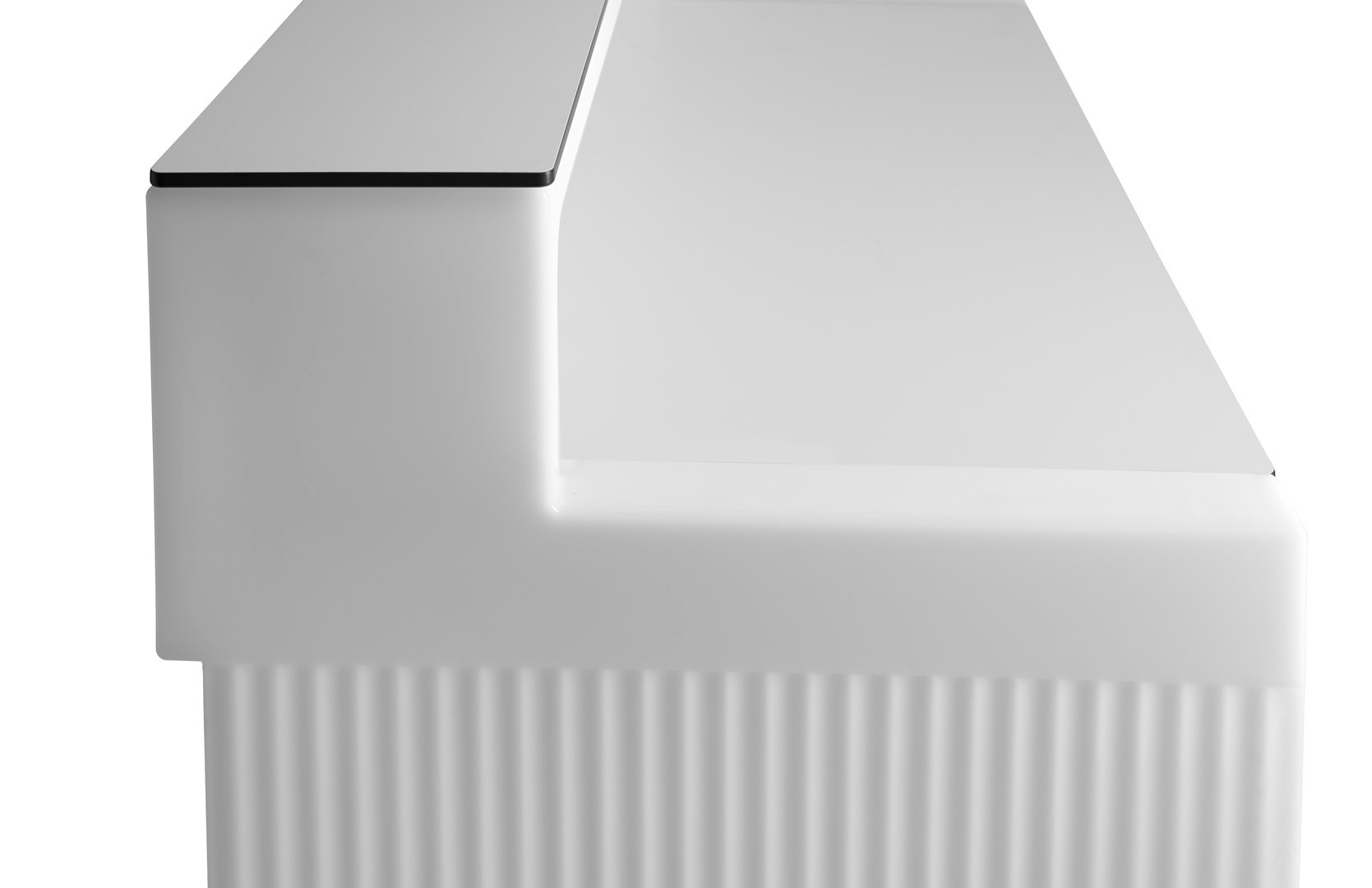 CORDIALE Bar gerades Element komplett in weiß mit weißer Arbeitsplatte und weißer TOP-Platte