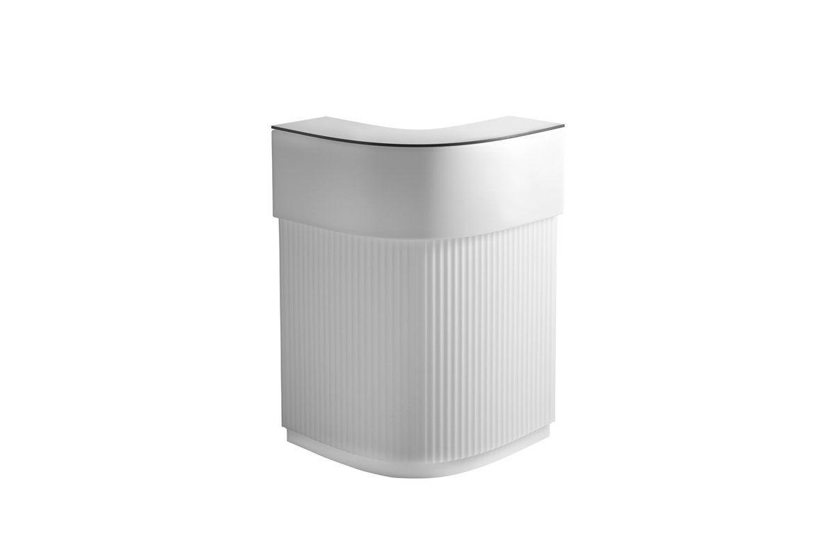 CORDIALE Bar Corner beleuchtet komplett in weiß mit HPL Abdeckplatten in weiß