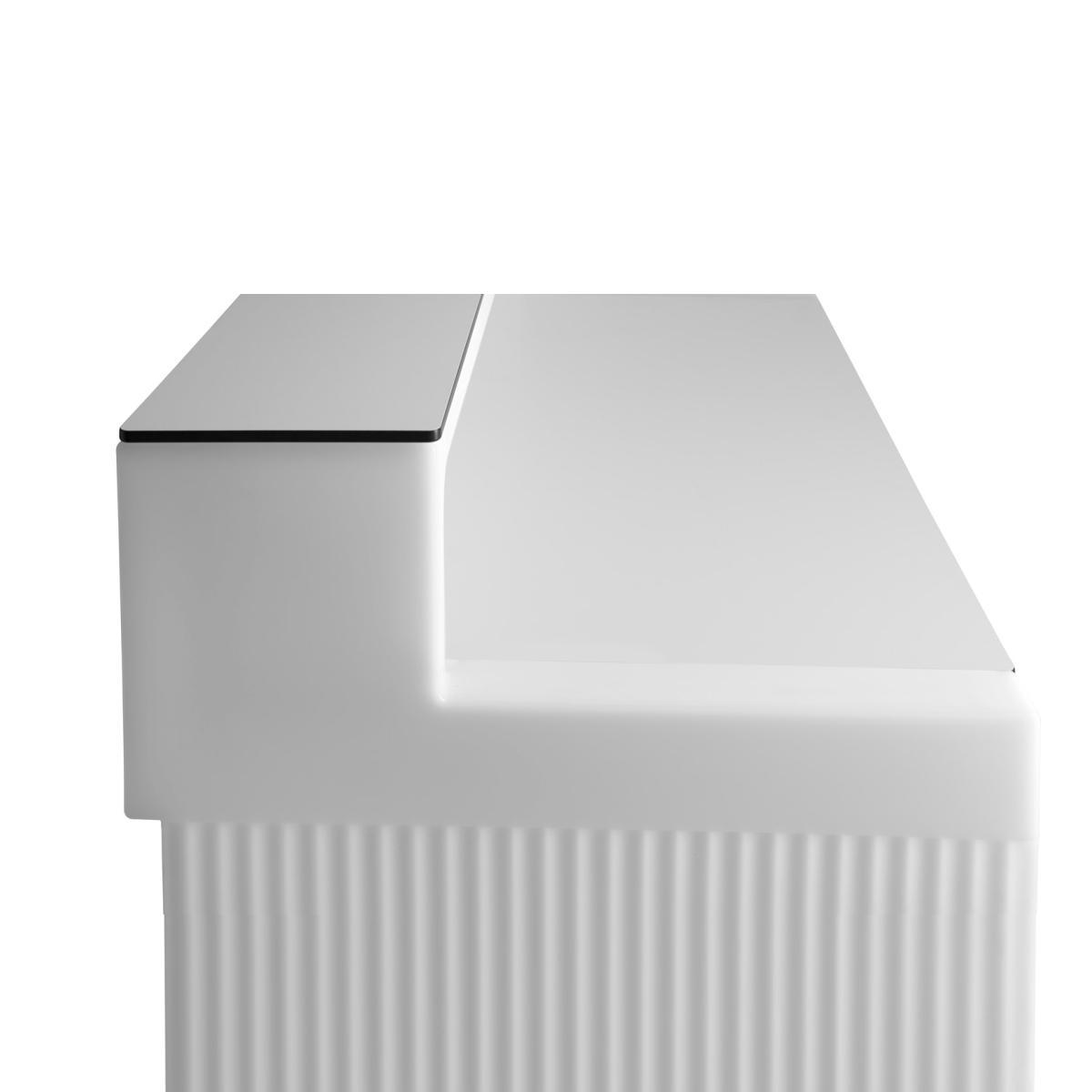 CORDIALE Counter Bar in weiß mit TOP Ablage und DESK Arbeitsplatte in HPL weiß