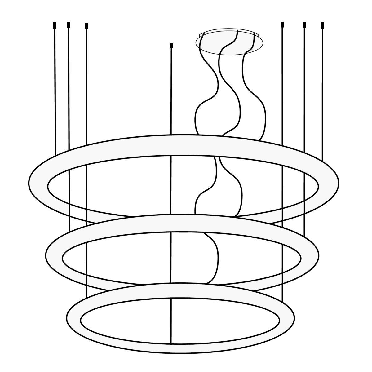GIOTTO Candelaber Kronleuchter mit 3 verschieden großen Ringen und Baldachin