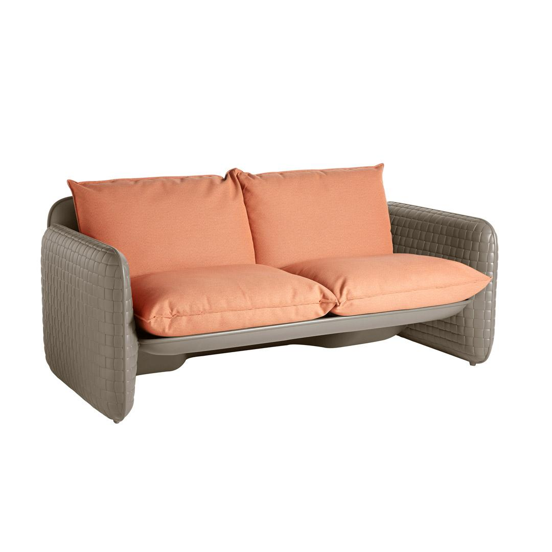 MARA Gartensofa argil grey mit Kissen earth-orange