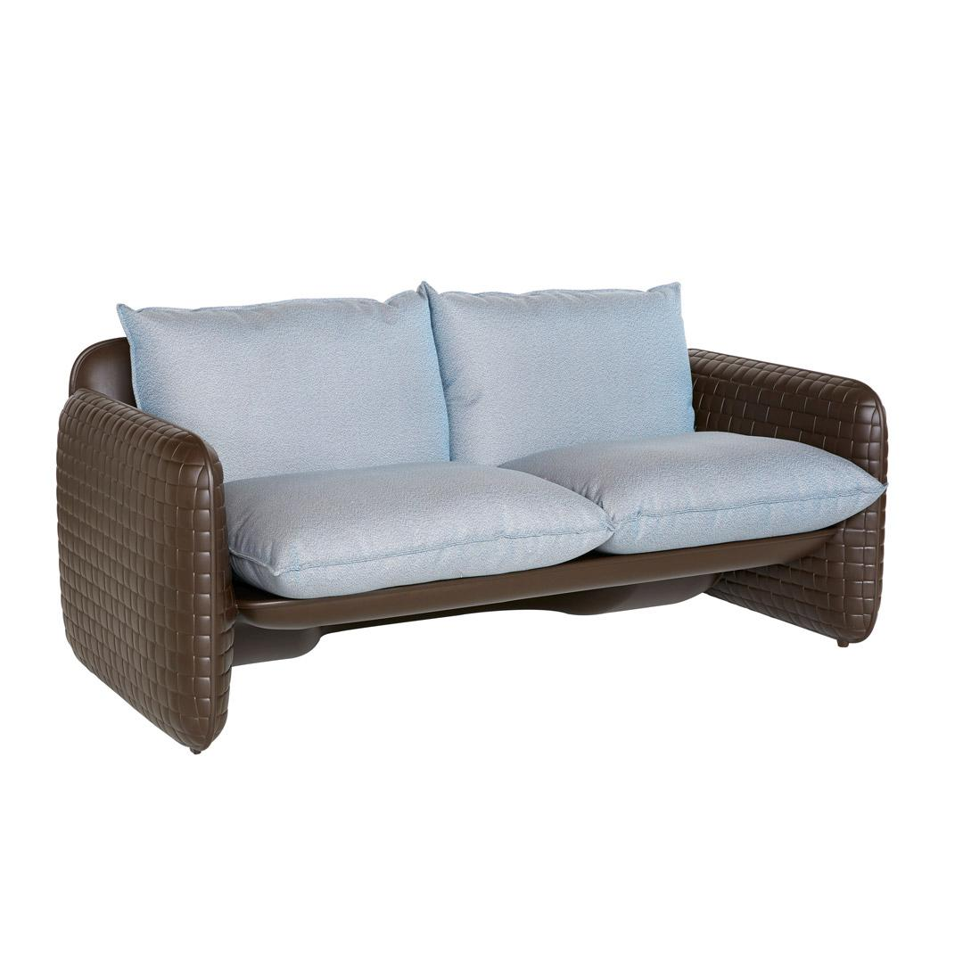 MARA Gartensofa chocolate browen mit Kissen river blue