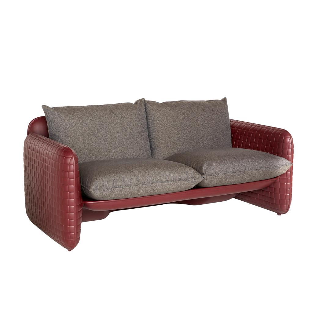 MARA Gartensofa mahagony leather mit Kissen in london brown