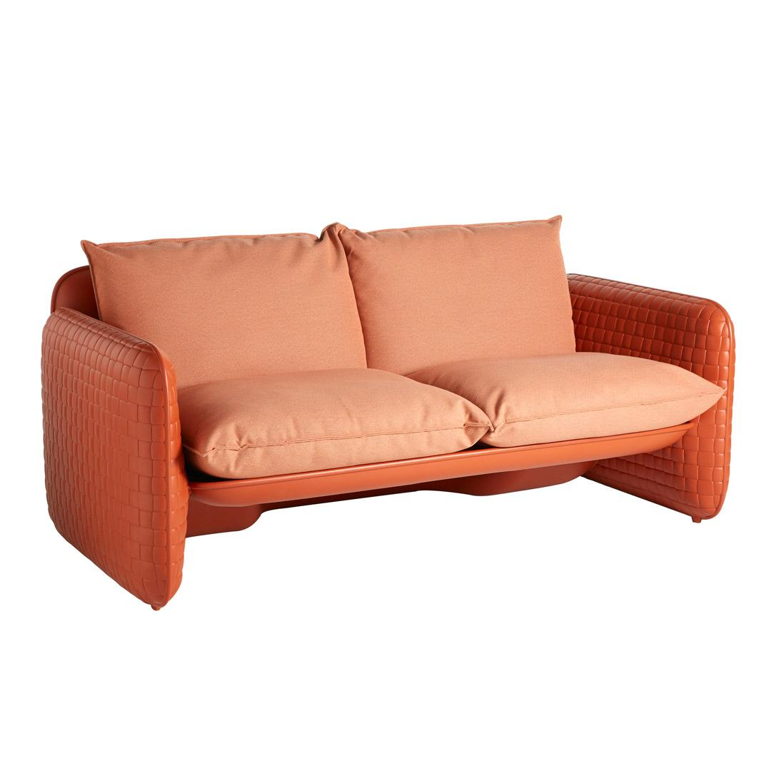 MARA Gartensofa farbenfroh in saddle leather mit Kissen in earth orange