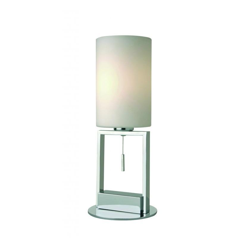 FINE Tischleuchte verchromt und Glas weiß
