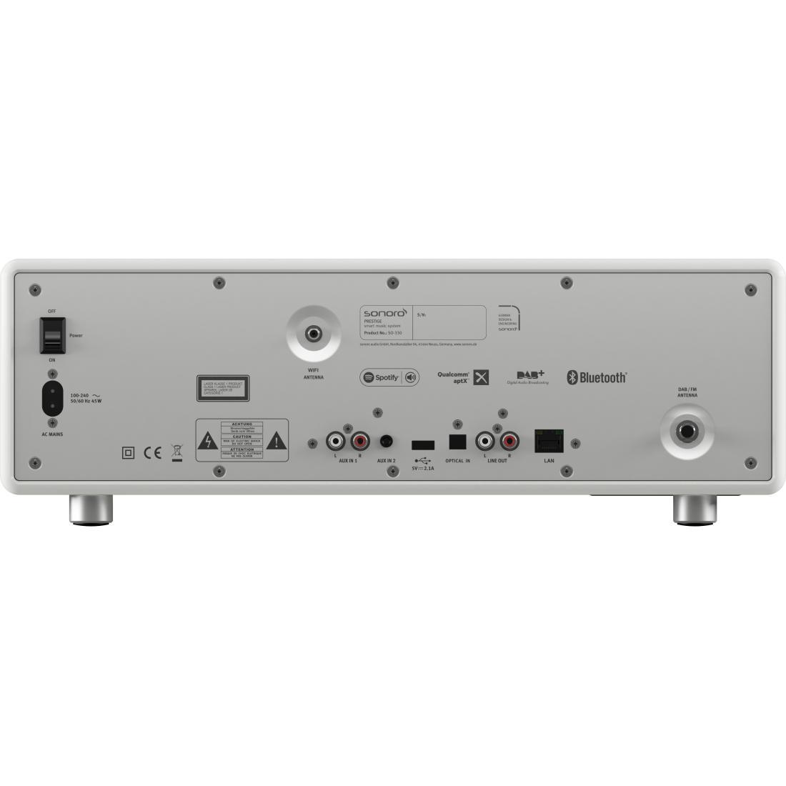 sonoro PRESTIGE Internetradio / CD-Player, weiß, Rückansicht mit Anschlüssen