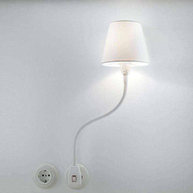 Glühwürmchen Steckerleuchte Standard LED Textilschirm weiß glatt