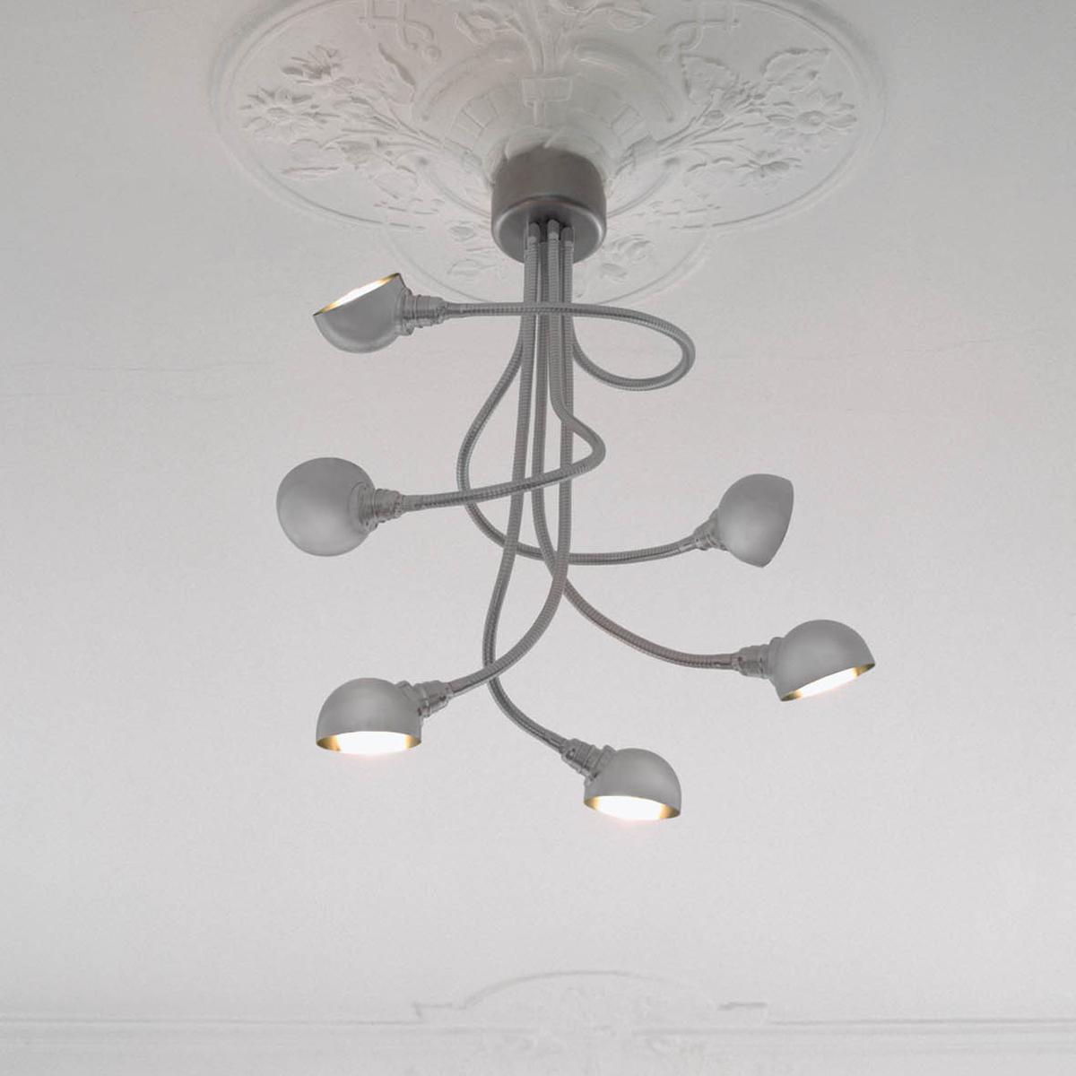 Calamari Deckenleuchte silber Halbkugel-Reflektor