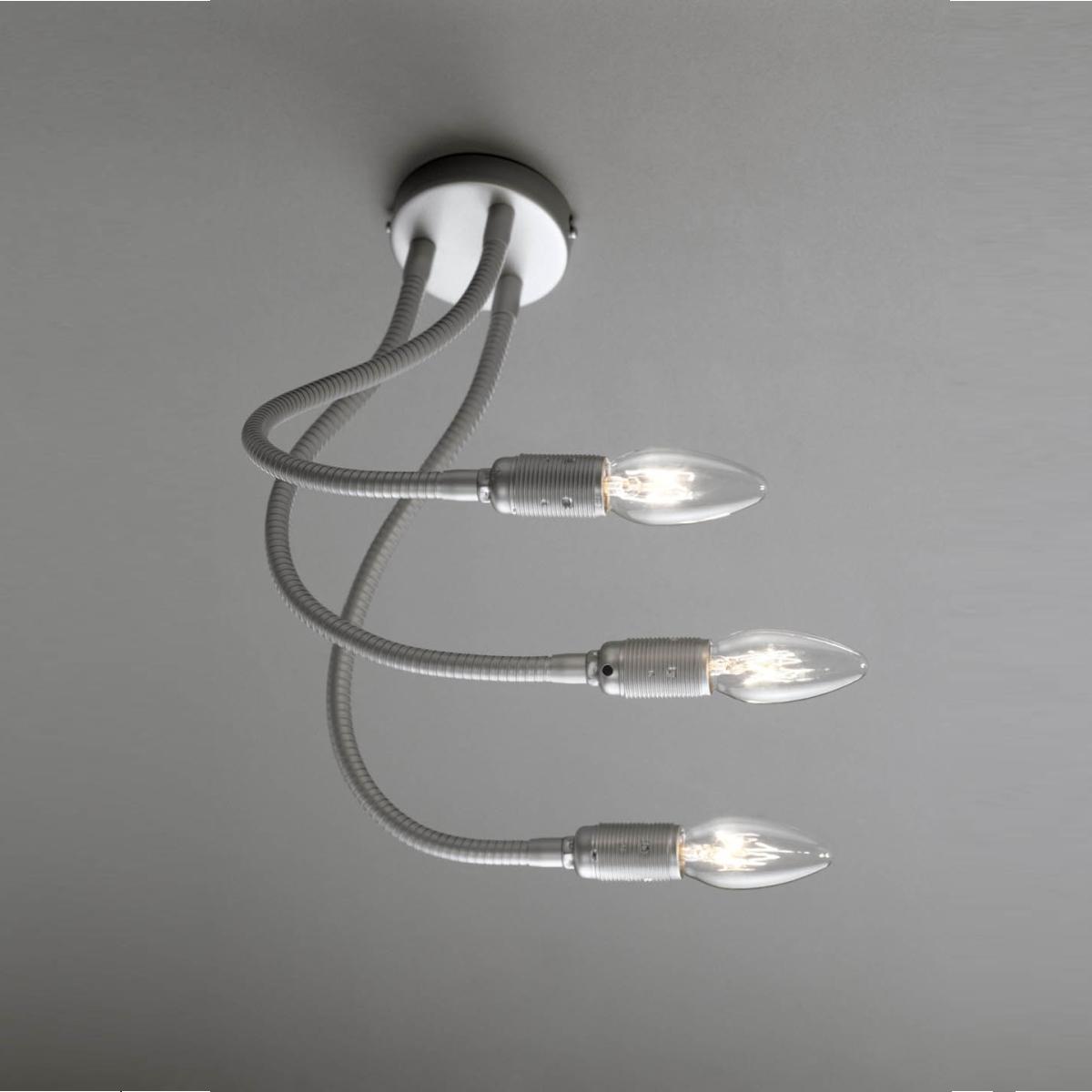 Dreiarm Wandleuchte / Deckenleuchte chrom, LED Kerze klar oder matt