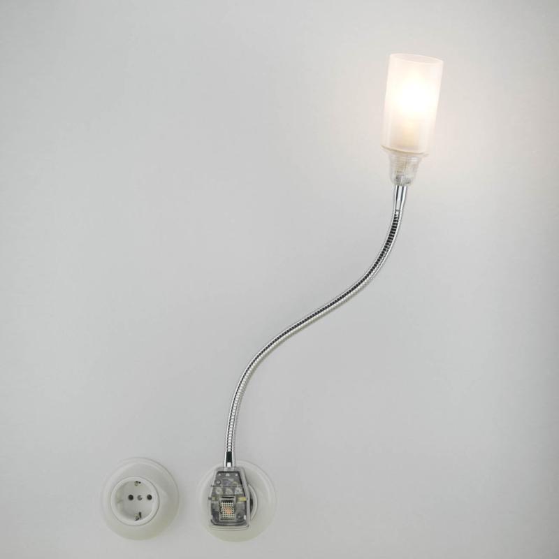 Glühwürmchen Steckerleuchte DeLuxe mit Glasschirm satiniert