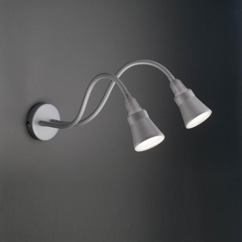 ÄRMEL STEREO Wandleuchte silber mit Kegel-Reflektor