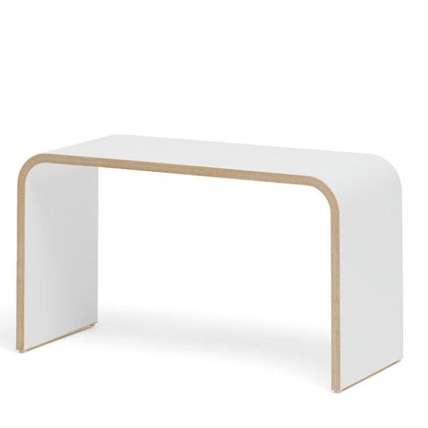 Tojo SIT Sitzhocker / Beistelltisch weiß mit Holzkante