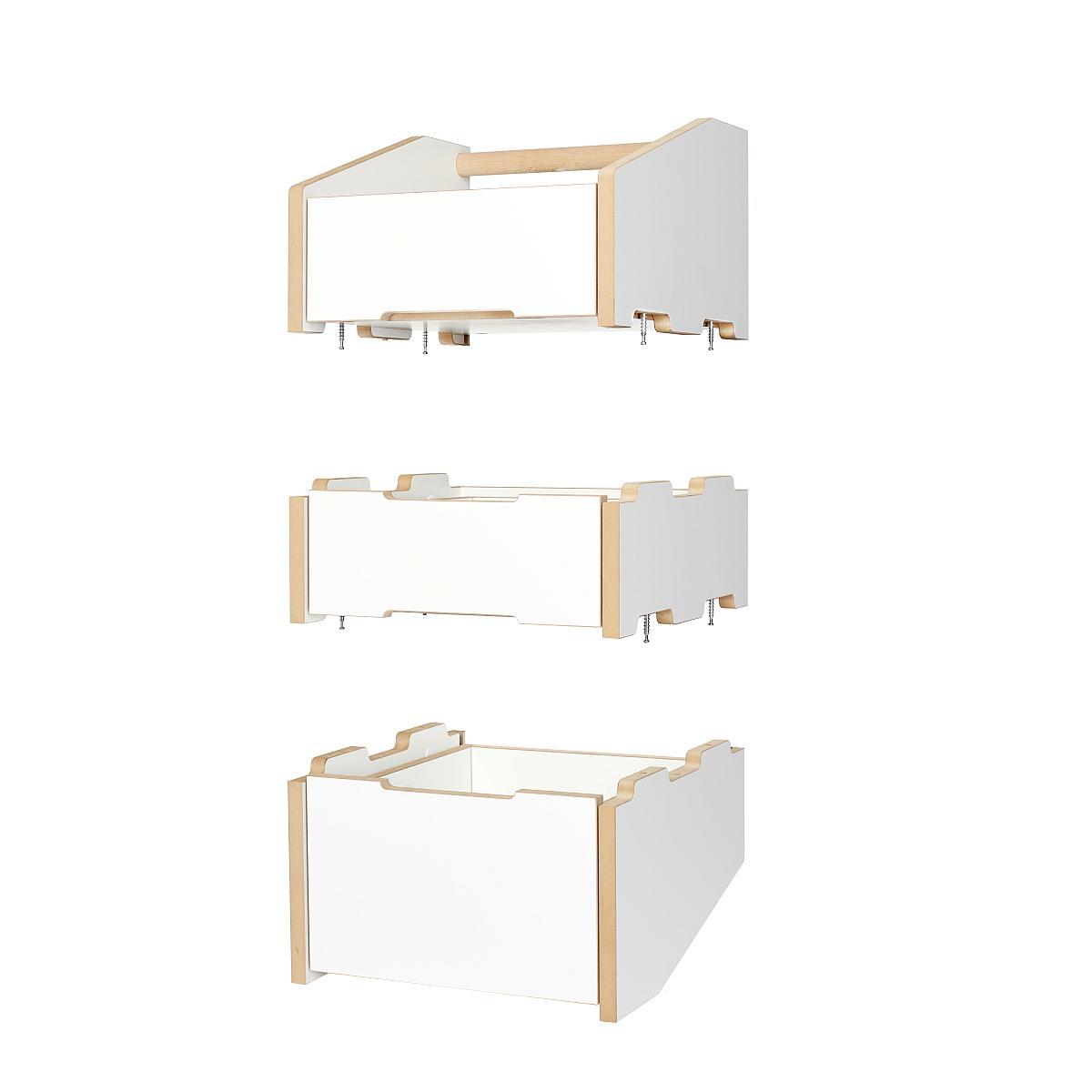 Tojo CARGO Container die 3 Module: Unterteilt, Mittelteil und Oberteil (mit Griff)