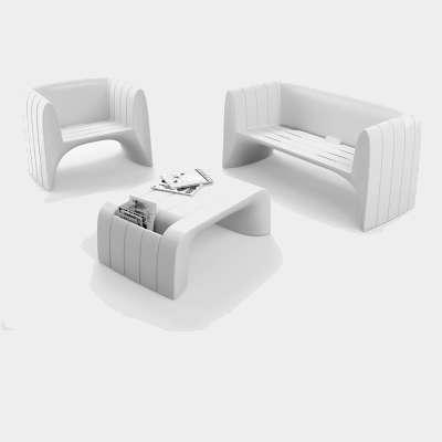GROOVE Gartensessel mit Sofa und Tisch, weiß