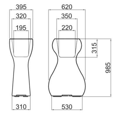 VENUS Pflanzkübel beleuchtet, Vermassung für 98.5 cm