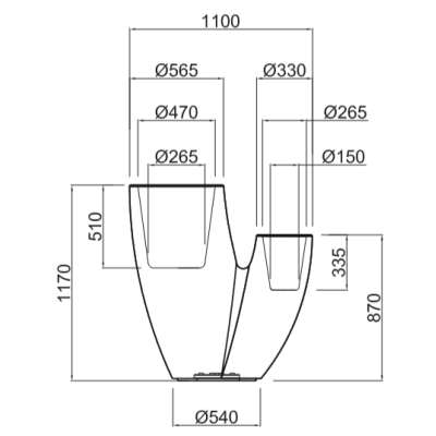 SAHARA Pflanzgefäß 117 cm - Technische Daten