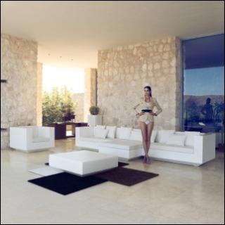 VELA Gartensessel und -sofa unbeleuchtet weiß