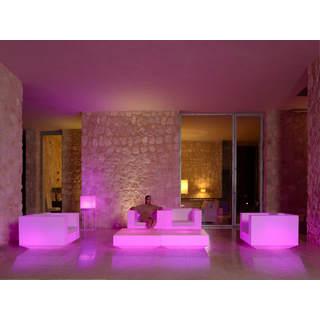 VELA Gartensessel beleuchtet weiß mit LED Beleuchtung pink