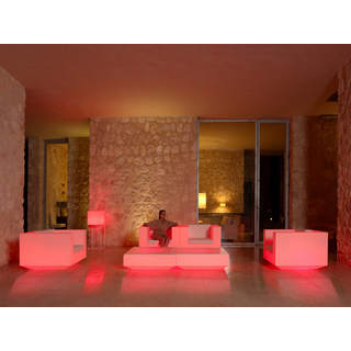 VELA Gartensessel beleuchtet weiß mit LED Beleuchtung rot