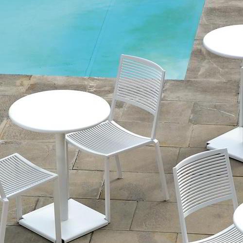 EASY Stapelstuhl Outdoor, weiß, mit Tisch