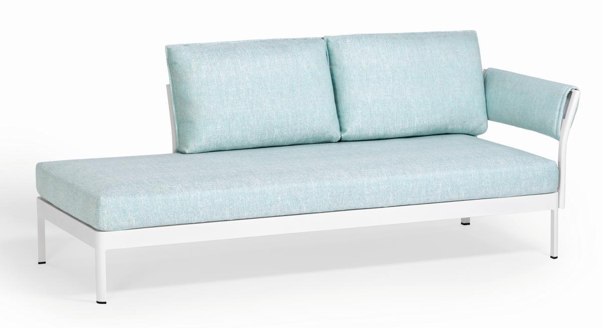 MINU Sofa 3-sitzig mit 1x Armlehne und 2 Kissen, Gestell und Bezug nach Wunsch