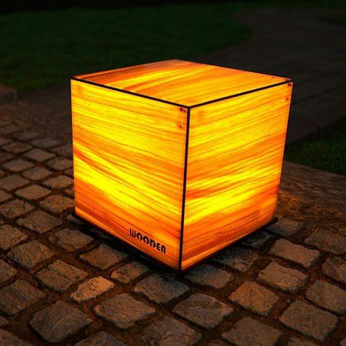 WOODEN DICE Leuchtwürfel Outdoor Feuertulpe beleuchtet