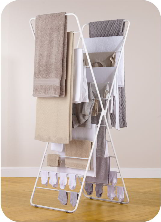 X-Dryer Wäscheständer weiß, komplett beladen