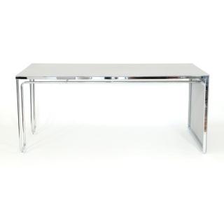 LEICHTBAU_DESK Schreibtisch Beton grau / verchromt